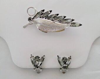 Vintage Brooch & Clip Earrings Set, Smoky Navette Rhinestones, Silver Tone Leaf Brooch, Mid Century, Circa 1960s, Includes Gift Box