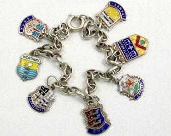 Vintage Travel Shield Charm Bracelet, Sterling Silver, Enamel Charms, Bath, Worthing, Ilfracombe, Rye, Cardiff, Cheltenham, Tenby