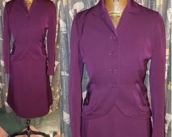 Vintage 1940's Office Class 40's Gabardine Two Piece Dress Burgundy Wine Deco Glam Womens Office Evening Wear Suit - S