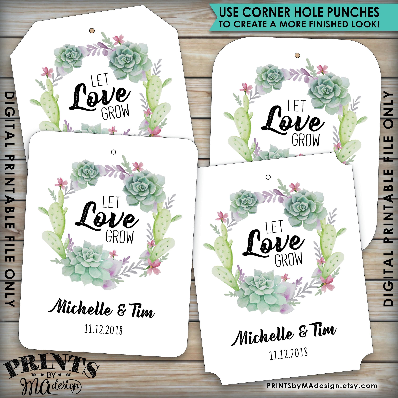 Let Love Grow Tags, Southwest Wedding Succulents Tags, Cactus ...
