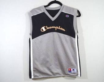 90s CHAMPION Spell Out Reversible Basketball Jersey Mens Small, Vintage Champion Jersey, Champion T-Shirt, Beach Shirt, Vintage Jersey Gray
