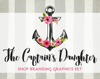 Floral Anchor Shop Branding Banners, Avatar Icons, Business Card, Logo Label + More - 13 Premade Graphics Files - THE CAPTAIN'S DAUGHTER
