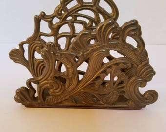 Vintage Brass Letter or Napkin Holder with a Unique Gothic Design Baroque Design Kitchen or Dining Room or Office Decor