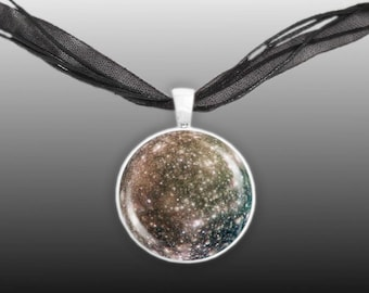"""Cratered & Icy Callisto Moon of Planet Jupiter Solar System Space 1"""" Pendant Necklace in Silver Tone"""