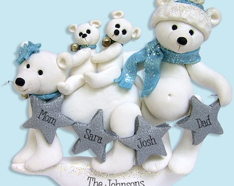 Polar Bear Family of 4 Handmade Polymer Clay Personalized Christmas Family Ornament