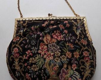 Vintage Figural and Floral Petit Point Purse Handbag