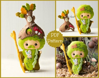 PDF. The wizard Father Forest. Plush Doll Pattern, Softie Pattern, Soft felt Toy Pattern.