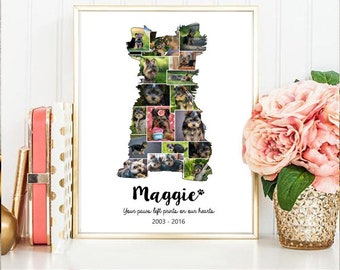 Yorkshire Terrier Collage gift - Pet Memorial Pet Loss  - Any dog breed Yorkie Photo Collage wall art poster sign gift - DIGITAL FILE!