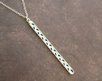 Thread Bar Drop Necklace (Blue, Light Green, White)