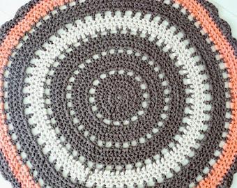 Crochet round rug, boho rug, giant doily rug, cotton floor rug, mandala crochet rug, brown coral floor rug, floor matt