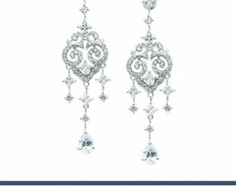 Wedding Earrings, Bridal Earrings, Chandelier Earrings, Rhinestone Earrings, Bridesmaids Earrings, Crystal Earrings, Statement Earrings