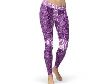 Purple Lotus Mandala Yoga Leggings - Mandala Lotus Printed Leggings, Lotus Leggings, Mandala Leggings, Lotus Mandala Leggings, Mandala Pants