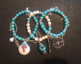 Turquoise Skull Compass Silver Bracelet Stack