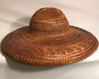 Handmade Chinese straw hat old Vintage #2 Decoration