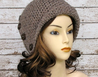 Brown Woman's Wool Blend Cloche, Taupe Crocheted Ladies Winter Hat