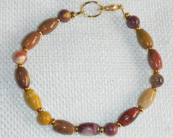 Mookaite Jasper Bracelet for Average Wrist 7.5 Inch Moukaite Bracelet Western Australian Chalcedony of Many Colors Microscopic Fossil Gem