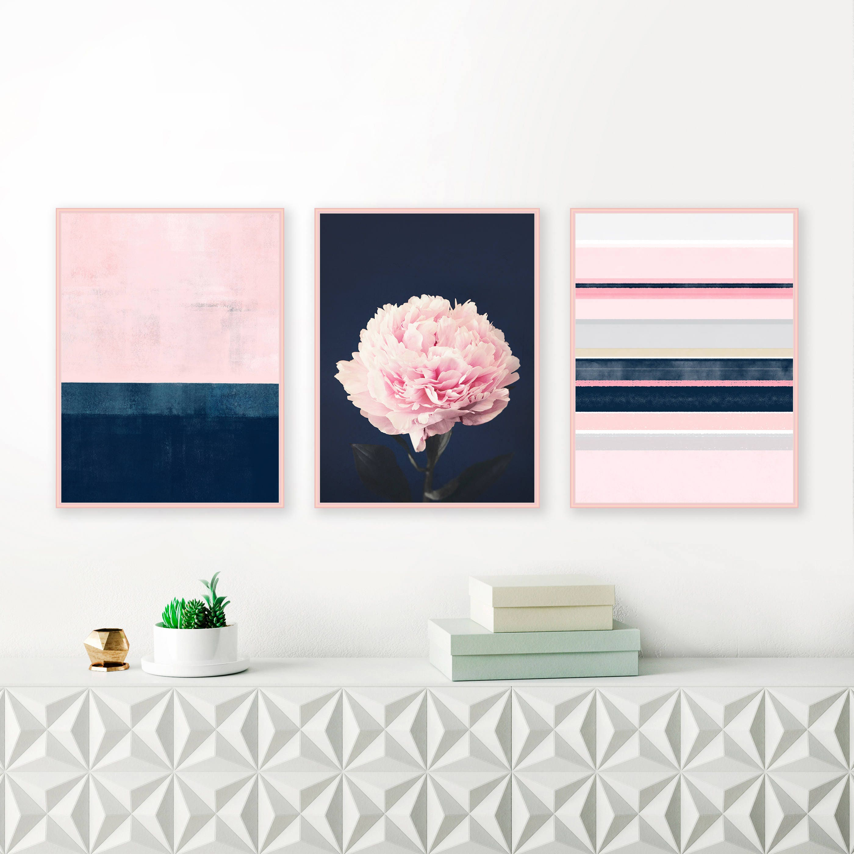 Pink and Navy Gallery Wall Art, Set of 3 Prints, Modern Prints ...