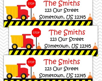 Dump Truck - Personalized Address labels, Stickers