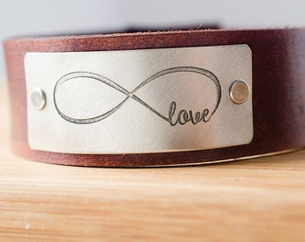 Infinity Love Forever Custom Leather Cuff -  Love Always