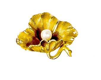 14k figural poppy flower pin brooch with seed pearl
