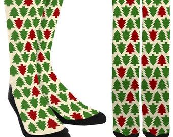 Christmas Tree Crew Socks - Holiday Socks - Santa Socks - Christmas Socks - Unique Socks - Novelty Socks - Cool Socks - FREE Shipping E13