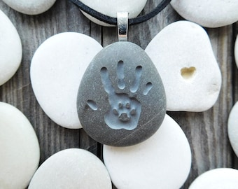 Personalized Hand Paw Necklace, Pet Remembrance Necklace, Pet Memorial Jewelry, Pet Lover Gift, Dog Cat Paw Necklace, Double Sided Pendant