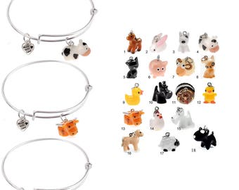 Choice of Expandable Bangle bracelet with 3-D Hand Painted Resin Farm Animals and Heart Charm, Qty:1