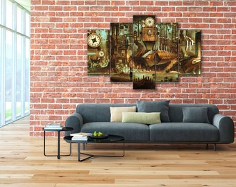 Steampunk canvas, Steampunk print, Steampunk wall art