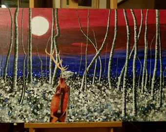 Wendigo fantasy abstract expressionist original acrylic painting on canvas 24x36