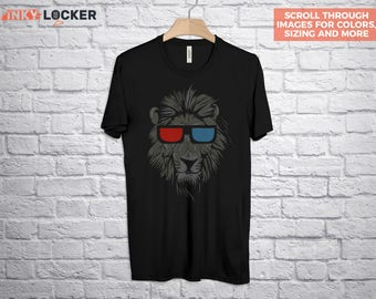 Lion T-Shirt, Lion T Shirt, Geeky Graphic Tee, Lion with 3D Glasses, Lion Head T Shirt, Geeky T-Shirt, Cool Graphic Tshirt, Gift for Him