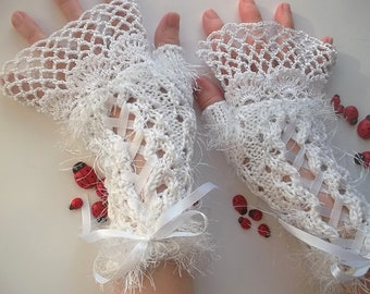 Crocheted Cotton Gloves L Ready To Ship Victorian Fingerless Summer Women Wedding Lace Evening Hand Knitted Party Opera White Corset B62