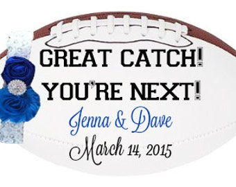 Football Garter Toss- Personalized with Bride and Groom Names and Date of Wedding
