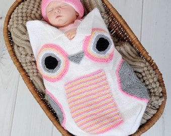 KNITTING PATTERN For Baby Owl Cocoon, Papoose, Hat Knitting Pattern in 3 Sizes PDF 250 Digital Download