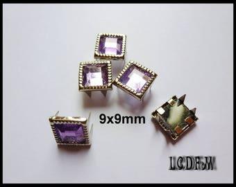 * ¤ Set of 5 violet purple rhinestone square claw nails - 9x9mm ¤ * #D31