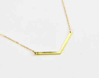 Chevron Necklace - Gold or Silver V Necklace - Simple Point Bar Necklace - Simple Chevron Necklace
