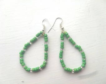 Hand beaded green earrings