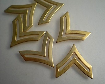 6 brass chevron charms