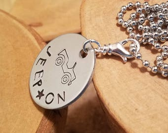 Jeep On hand stamped and polished one inch aluminum disc unisex necklace you pick the chain size