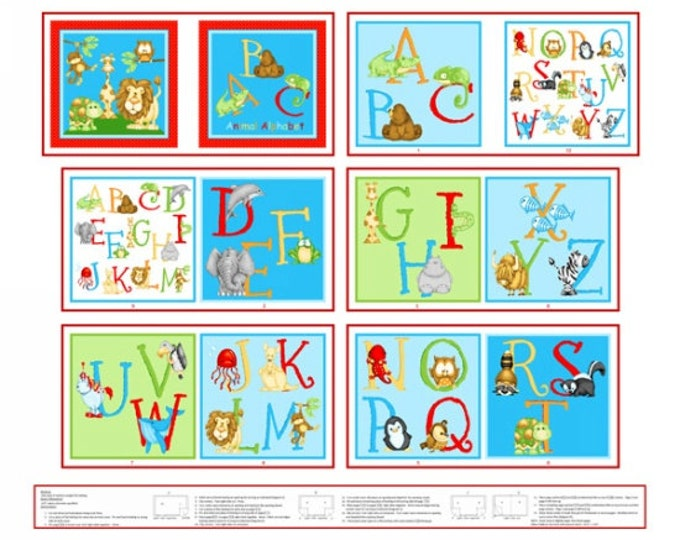 Alphabet Fabric, Alphabet Cloth Book Panel, ABC 123  Book Panel by Shelly Comiskey for Henry Glass 35 x 44 inches
