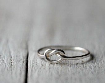 Sterling Silver Love Knot Ring, thick band, UNISEX, love, BFF, friendship, anniversary, valentine gift