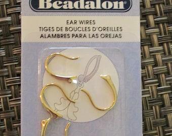 Gold Earwires, Beadalon Earwires, Beadalon, Gold, Earwires, Small Earwire, Ear Hooks, Fish Hooks, Pierced Earring, Earring, Ear Wires, 4 pcs