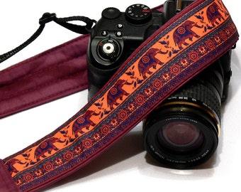 Lucky Elephants Camera Strap. Padded Camera Strap. Personalized Gift. DSLR Camera Strap. Canon, Nikon Camera Strap. Women Accessories