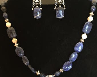 Sodalite & Sterling Silver Gemstone Bead Necklace, Earrings