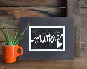 """Muncie print, Muncie heart, Indiana art, Hoosier art, Block print, Indiana gifts, Mat, 10 x 8"""""""