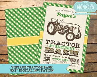 Vintage Tractor Party Pack - Printable birthday invitation and party decor!