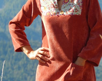 Tunic in pink velvet, Pocket and collar facing