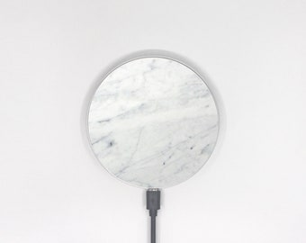 White marble wireless charger, charging station, charging pad, for iPhone 8 and iPhone X, Samsung galaxy, Nokia, wireless charging pad -239