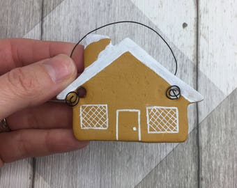 Gingerbread house ornament, Christmas decoration, tree decoration, christmas gift, clay ornament, house ornament, gingerbread house.
