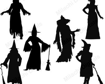 60% OFF SALE Witch Silhouette Digital Clip Art, Halloween Clipart, Instant Download - M362