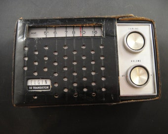 Elgin AM Portable 10 Transistor Radio with Black Leather Case Model R-1100